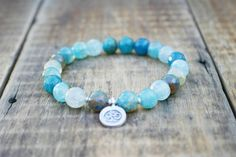 Spiritual Yoga Beaded Stretch Bracelet  Blue by CiCiDesignsJewelry, $22.00