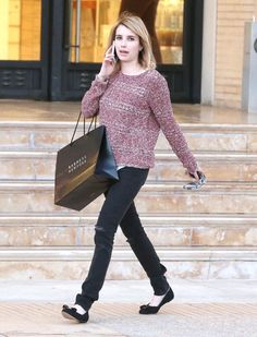 Emma Roberts in the Hart Sweater and the Skinny in Rock with Holes