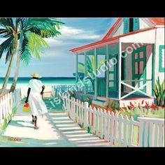 West Bay Cottage by artist Shari Erickson Caribbean Art, Tropical Art, Beach Art, African Art, Land Scape, Folk Art, Florida, Illustration Art, Island