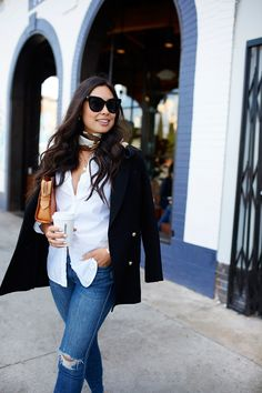 MARCH 2018 My 10 Favorite Coffee Shops in LA -Zimmermann blazer // Equipment blouse Mother jeans // Hermes sandals // With Love From Kat clutch Vintage scarf // Missoma necklaces Equipment Blouse, Mother Jeans, Vintage Scarf, Work Wear, Spring Fashion, Duster Coat, Feminine, Style Inspiration, Coffee Shops