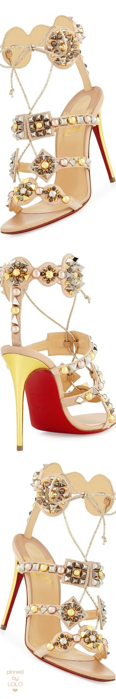 Christian Louboutin Kaleikita Spiked Lace-Up 100mm Red Sole Sandal, Version Doudou