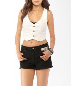 White Cropped Denim Vest + Black Shorts