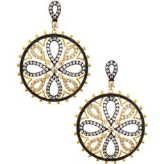 Freida Rothman CZ Pave Floral Medallion Earrings (3 665 UAH) ❤ liked on Polyvore featuring jewelry, earrings, black, 14 karat gold earrings, 14k earrings, pave earrings, post back earrings and floral earrings