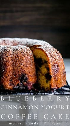 This Blueberry Coffee Cake recipe is moist, tender, light and packed with wholesome ingredients. Use fresh or frozen berries. Share with brunch or as an afternoon snack. Fun Desserts, Dessert Recipes, Recipe Maker, World's Best Food, Healty Dinner, Chewy Brownies, Homemade Cake Recipes, Blueberry Cake, Delicious Dinner Recipes