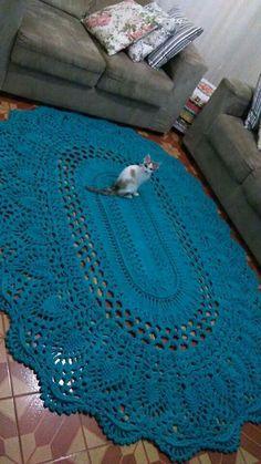 Crochet rug oval yarns New ideas Crochet Doily Rug, Crochet Rug Patterns, Crochet Carpet, Crochet Basket Pattern, Crochet Quilt, Crochet Diagram, Crochet Home, Crochet Crafts, Crochet Flowers