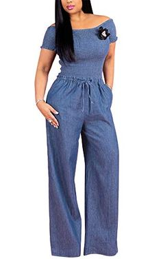 Shop a great selection of Dreamparis Dreamparis Women's Off Shoulder Ruffle Denim Wide Leg Jumpsuit Romper Long Pants. Find new offer and Similar products for Dreamparis Dreamparis Women's Off Shoulder Ruffle Denim Wide Leg Jumpsuit Romper Long Pants. Jumper Pants, Romper Long Pants, Long Sleeve Romper, Blue Jumpsuits, Jumpsuits For Women, Denim Jumpsuit, Fitted Jumpsuit, Overalls, Shorts