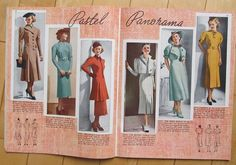 Pictorial Review Fashions Pattern Book, Spring 1937 featuring Pictorial 8569, 8521 and 8537 on the left page, 8613, 8547 and 8578 on the right page