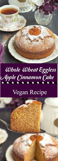 Whole Wheat Eggless Apple Cinnamon Cake - Lets Cook Healthy Tonight