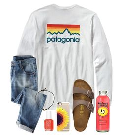 """""""Chilling at the host home. :)"""" by simply-makayla ❤ liked on Polyvore featuring Patagonia, Birkenstock, Essie and Casetify"""