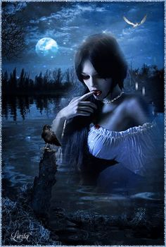 Good evening to all, to have sweet dreams and a beautiful dawn blessings for each one of you. Dark Fantasy Art, Fantasy Girl, Dark Art, Vampire Pictures, Angel Pictures, Gif Pictures, Beautiful Witch, Beautiful Gif, Gothic Art