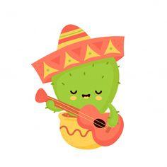 Cute Happy Smiling Cactus With Guitar In Mexican Hat Cartoon Garden, Cactus Cartoon, Doodles Kawaii, Mexico Cactus, Cactus Hat, Mexican Birthday Parties, Art Style Challenge, Cactus Illustration, Plant Vector