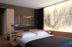 Love the desk behind the bed, the ccurtain/artwork, the built in alarm clock, sooooo pretty much everything