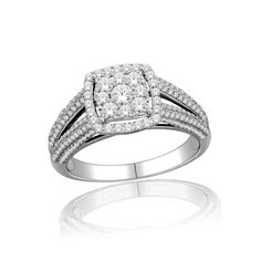 1 CT. T.W. Diamond Cluster Square Frame Engagement Ring in 10K White Gold - Zales