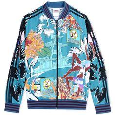 Adidas X Mary Katrantzou Zip Sweatshirt ($270) ❤ liked on Polyvore featuring jackets, deep jade and adidas