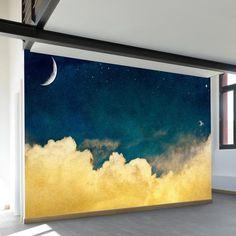 One For The Dreamers - Wall Murals from WallsNeedLove Wall Mural Decals, Art Mural, Wall Art, Peel And Stick Wallpaper, Of Wallpaper, Trellis Wallpaper, Bedroom Wallpaper, Blue Clouds, Museum Of Modern Art