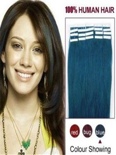 8 - 32 Inches Blue Tape In Human Hair Extensions