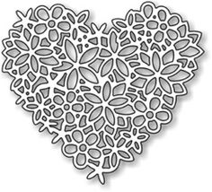 Impression Obsession Floral Lace Heart craft die Valentine's Day