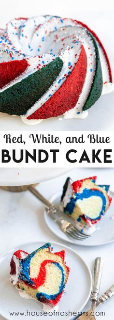 Celebrate Independence Day with a Red, White, and Blue Bundt Cake for a fun and festive dessert centerpiece! A buttery, rich vanilla cake is boosted with a little food dye to create a fun swirl that is sure to be the talk of your 4th of July cookout! #4thofJuly #bundt #cake #patriotic #independenceday #memorialday #holiday #best #easy #moist #vanilla #redwhiteandblue Best Dessert Recipes, Cupcake Recipes, Fun Desserts, Delicious Desserts, Cupcake Cakes, Potluck Recipes, Muffin Recipes, Drink Recipes, Yummy Recipes