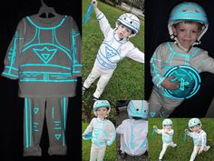 Tron Costume - best part is it glows when you take a picture w/ flash.   reflective tape ( pin striping on bikes a 1/4 inch and 1/2 inch tape)  #tron