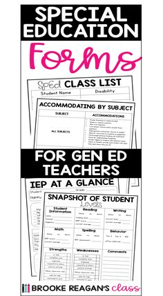 Special Education forms for General Education Teachers. Special Education Forms, Class List, Spelling, Names, Teacher, Student, Map, Writing, Reading