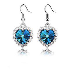 Sea Blue Heart Drop Earrings – USD $ 1.99
