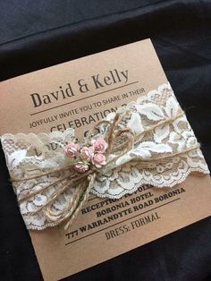Gorgeous lace wrap invite, rustic Country Wedding Invitations, spring weddings Gorgeous lace wrap in Wedding Invitation Trends, Country Wedding Invitations, Rustic Invitations, Wedding Invitation Wording, Wedding Stationery, Event Invitations, Floral Invitation, Invitation Design, Shower Invitations
