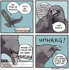 False Knees is a webcomic written by Joshua Barkman. All silly nonsense is my own. Funny Animal Comics, Cute Comics, Funny Comics, Funny Animals, Cute Animals, Funny Jokes, Hilarious, Bird Quotes, Funny Birds