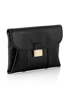 The BOSS 'Fanila' clutch is made from luxurious calfskin. The flap leather clutch features a polished metal spring lock on the front. The lined interior offers organizational pockets with a zippered compartment and mobile phone holder.