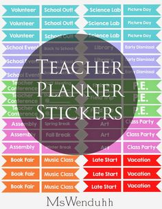 MsWenduhh Planning & Printing: Teacher Planner Stickers