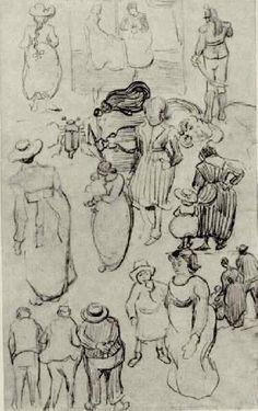 Sheet with Many Sketches of Figures - Vincent van Gogh