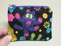 Doodle Cats Coin Purse quilted by CutePurseNalities on Etsy