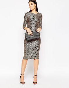 Club L | Club L Midi Dress in Metallic Foil Print at ASOS