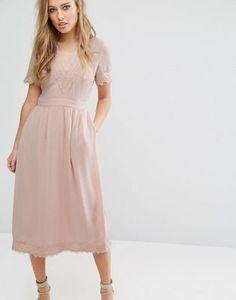 Warehouse Lace V Neck Midi Dress