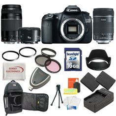 Canon EOS 60D DSLR Camera with 3 Canon Lens Pro Pack: Includes - Canon EF-S 18-135mm f/3.5-5.6 IS Lens - Canon Zoom Telephoto EF 75-300mm III - Canon EF 50mm f1.8 II Autofocus Lens, Also Includes Deleuxe Backpack, 2 Extra Batteries & Travel Charger, 16GB SDHC Card & Card Reader, 3 Piece Pro Filter Kit with 2 Extra UV Filters and much more... - http://www.digitalcameraoptics.com/canon-eos-60d-dslr-camera-with-3-canon-lens-pro-pack-includes-canon-ef-s-18-135mm-f3-5-5-6-is-lens-