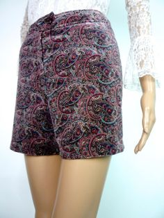 Oooo I love these!  CMA   Cute Vintage 60s Paisley Printed Velvet Shorts by HuzzarHuzzar, £28.00