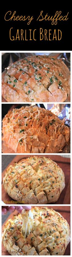 Cheesy Stuffed Garlic Bread! This fun, DELICIOUS pull-apart bread is a must for game day! From EricasRecipes.com.