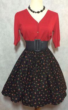 50s Style Rockabilly Pin Up Cherries Print Full Skirt XS  | eBay