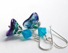 Glass Earrings Peacock Glass Tulip Swarovski by WildWomanJewelry, $19.00