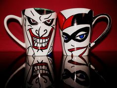 2 Harley Quinn and Joker Psycho Lovers mug dc comics by howbeth, €18.00