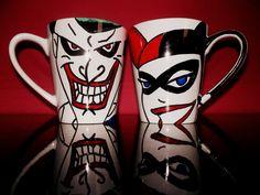 2 Harley Quinn and Joker Psycho Lovers mug dc comics by howbeth, €18.00