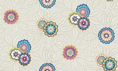 Eden (110682) - Harlequin Wallpapers - A traditional crewelwork floral design, which has been given a contemporary feel by using vibrant colours. Shown here in coral, sapphire and beige. Other colourways are available. Please request a sample for a true colour match. Paste-the-wall product.