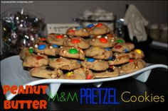 Peanut Butter, M&M, and Pretzel Cookies - bite sized, great for parties.