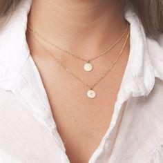 Gold Layered Disk Halsketten Set von zwei Kreis von meitaltoledo