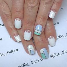 Fashion nails 2016, Fresh nails, Geometric nails, Half-moon nails ideas, Manicure 2016, Manicure nail design, Pattern nails, Tri-color nails