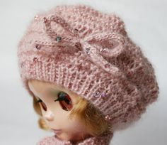 Blythe doll hat and pale pink scarf Knit от VolnaDollsClother