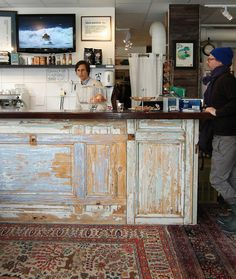 old doors ~ great idea for a shop counter
