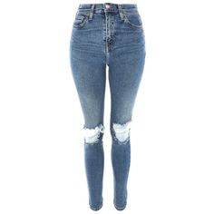 Women's Topshop Jamie Rip High Waist Skinny Jeans ($75) ❤ liked on Polyvore featuring jeans, pants, bottoms, high waisted stretch jeans, blue skinny jeans, skinny jeans, high-waisted skinny jeans and ripped jeans