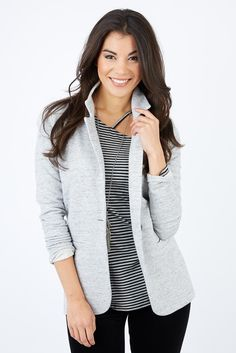 Meet your softest blazer EVER! The Brooks Blazer is casual enough for weekend fun, but tailored enough for the office too. Plus, you'll love the soft and touchable fabric.