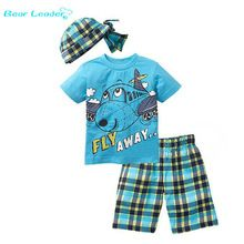 SuperDeals 20% off http://s.click.aliexpress.com/e/AeuFeaE Bear Leader Active boys sets  boy shorts Cartoon suits summer short sleeve T-shirt + plaid pants + hat 3 pieces clothing set