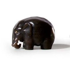 A RUSSIAN LABRADORITE MODEL OF AN ELEPHANT